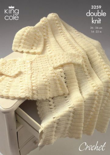 Coat , Shawl & Hat - King Cole Crochet Pattern, 3259